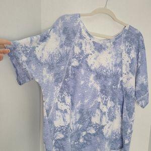 Blue & White Tie Dye Bow Back Tshirt
